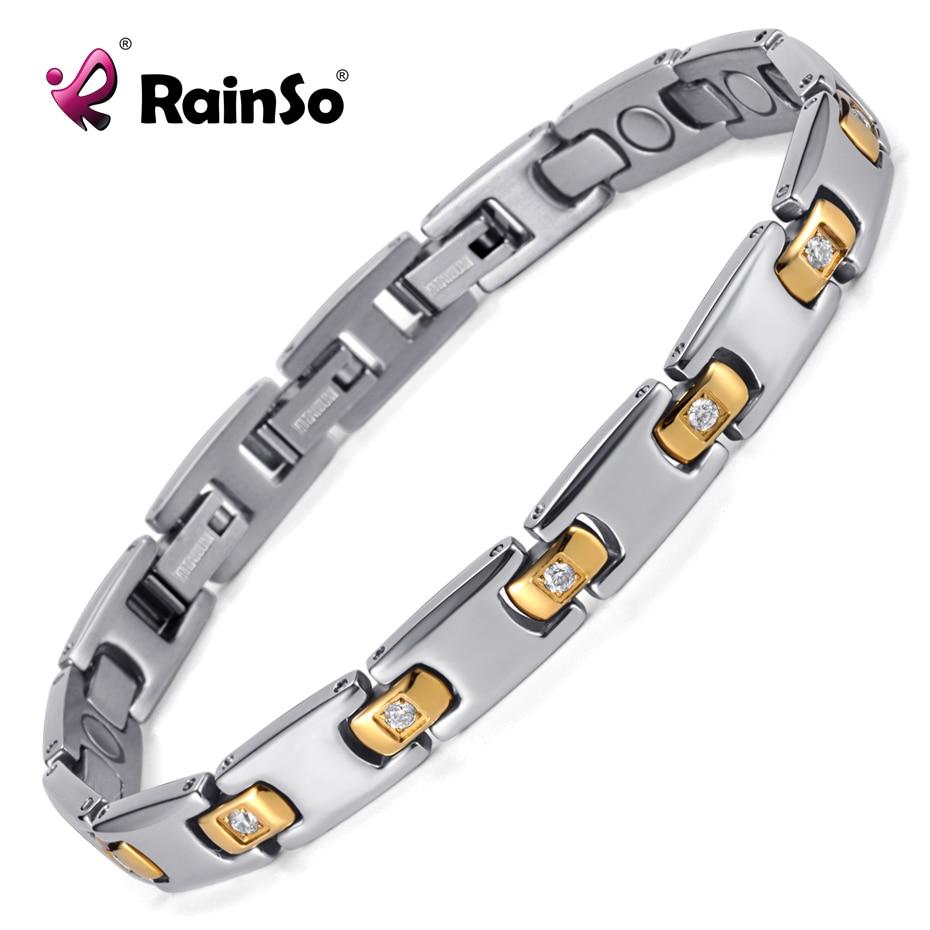 Rainso Magnetic Therapy Bransoletka Tytanowy metal z kryształem z 3 - Modna biżuteria - Zdjęcie 1