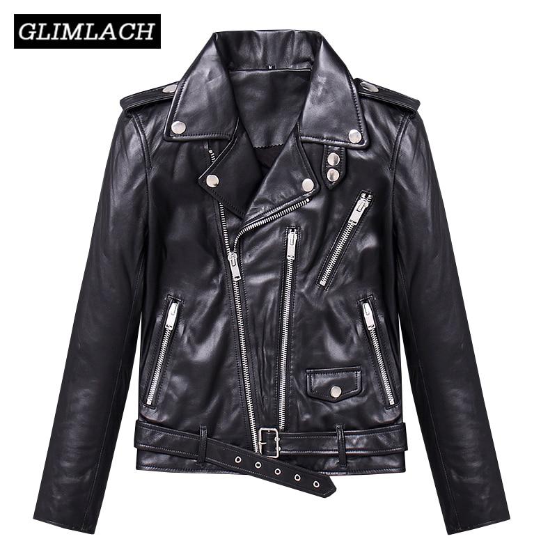 Women Real Leather Jacket Multi Zippers Lambskin Genuine Leather Coat With Belt Black Slim Short Motorcycle Biker Jacket Clothes