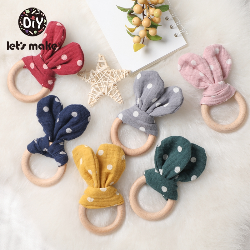 Let's Make 1pc Wooden Teeth Silica Gel DIY Baby Toys Bracelet Cover Wave Point Rabbit Ears Toy Beech Wood