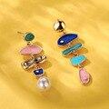 Lost женские барокко пресноводные жемчужные серьги в виде капель для женщин Модный эмалевый большой заявление висячие серьги Свадебные ювел...