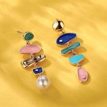 Lost lady barroco de água doce pérola brincos para as mulheres na moda esmalte grande declaração pendurado brincos jóias casamento feminino