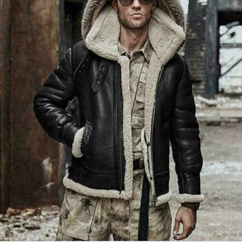 Men's Winter Warm Aviator Fur Collar Hooded Coat Faux Leather Jacket Male Fashion Casual Outerwear