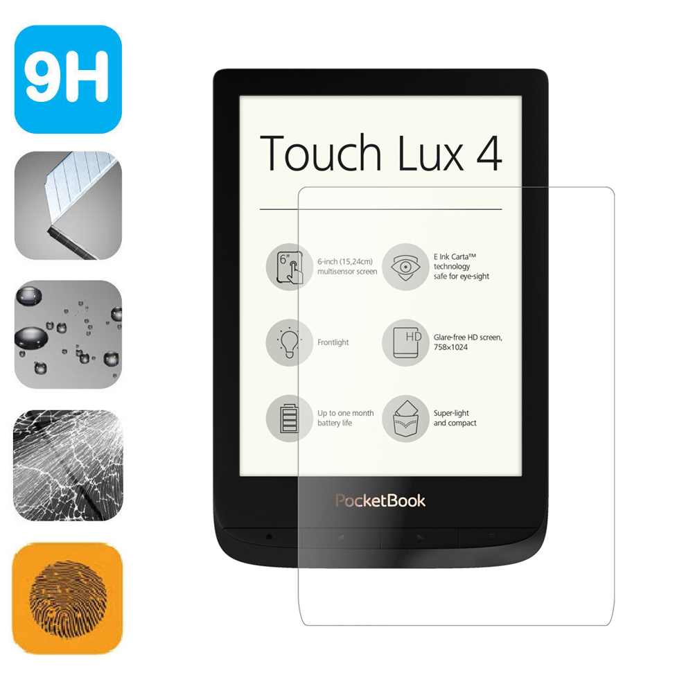 >9H Tempered Glass LCD Shield Film 6 inch Screen Protector for Pocketbook Touch Lux <font><b>4</b></font> <font><b>Basic</b></font> Lux 2/HD 3 Pocketbook 632/627/616
