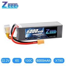 Zeee – batterie Lipo 22.2V 6000mAh, 100c, prise XT90, 6S RC, pour Drone, course FPV, hélicoptère, voiture, bateau, camion