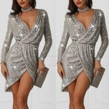 BacklakeGirls сексуальное короткое официальное платье с глубоким v-образным вырезом и серебристыми блестками с разрезом вечерние коктейльные платья Vestidos De Coctel