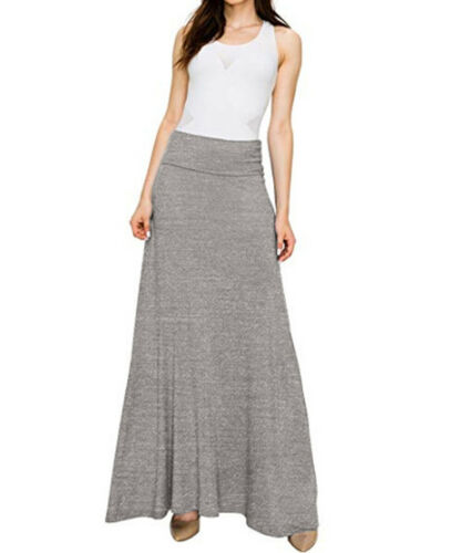 Women Elastic Waist Long Skirts Pleated Vintage High Waist A-line Long Solid Color Gypsy Summer Skirt Beach Casual Clothes