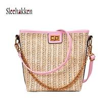 купить Woven rattan bag bucket-shaped straw women's shoulder bag beach handbag ladies summer beach bag portable Messenger bag 2019 new дешево