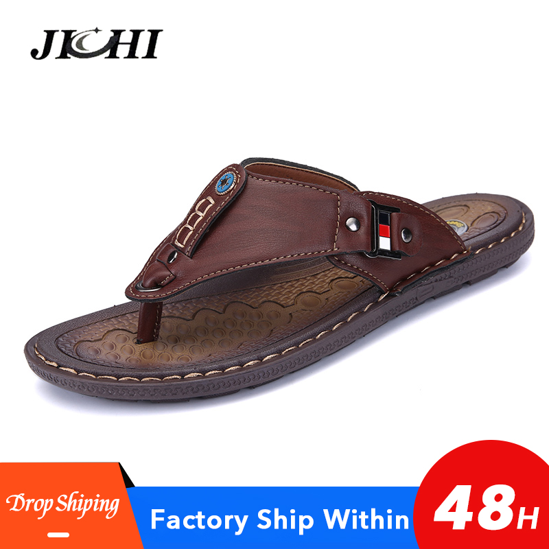 2020 New Brand Men Slippers Summer Beach Shoes Men Flip Flops High Quality Casual Sandals Leather Slip-On Breathable Sandalias
