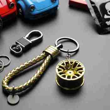1pc Fit Wheel Rim Keychain Creative Auto Part Car Key Chain Keyring Ring Key Chain Keyring Auto Interior Accessories Keyrings image