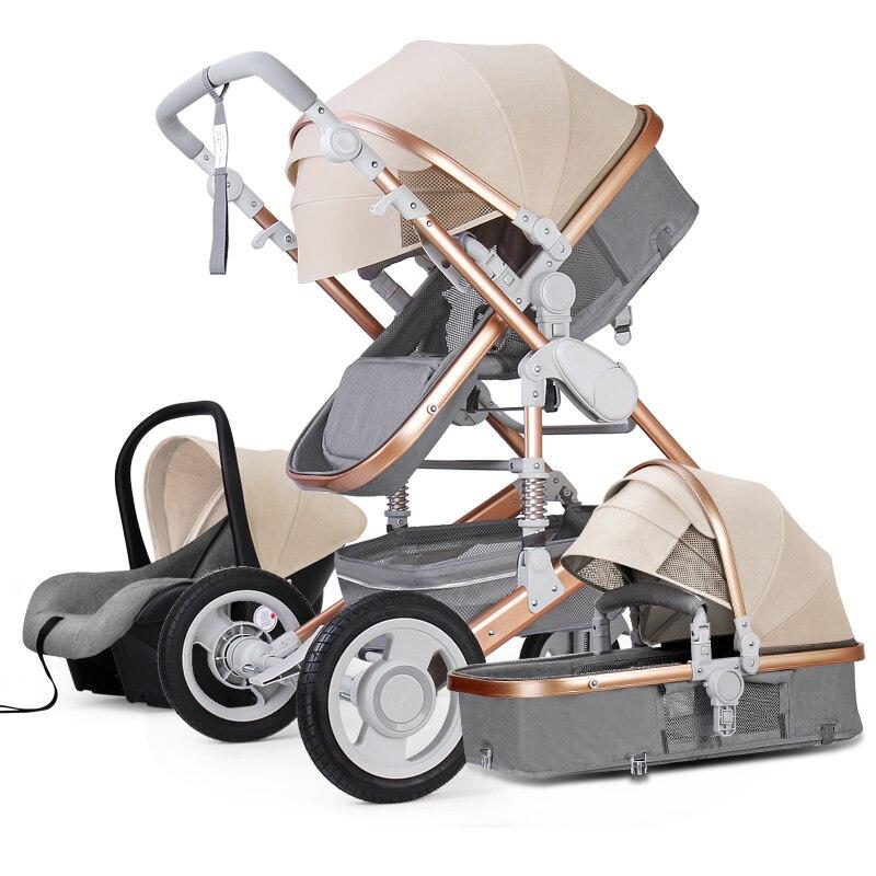 Alta paisagem carrinho de bebê 3 em 1 com assento de carro e carrinho de criança de luxo infantil conjunto assento de carro do bebê recém-nascido carrinho 7 presentes