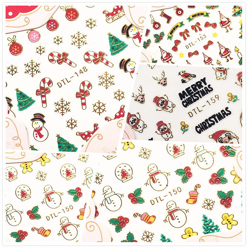 New Style Christmas 3D Phototherapy Nail Sticker Nail Polish Stickers Flower Santa Claus Elk Bell Snowflake
