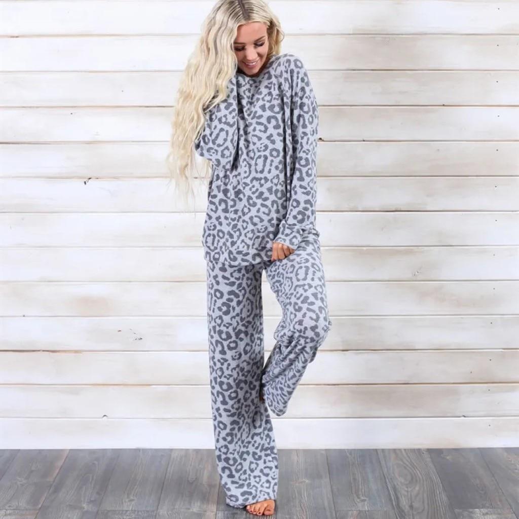 Women Suits Tracksuits 2 Pieces Winter Leopard Print Sweatshirt Pants Sets Leisure Wear Lounge Wear Suit