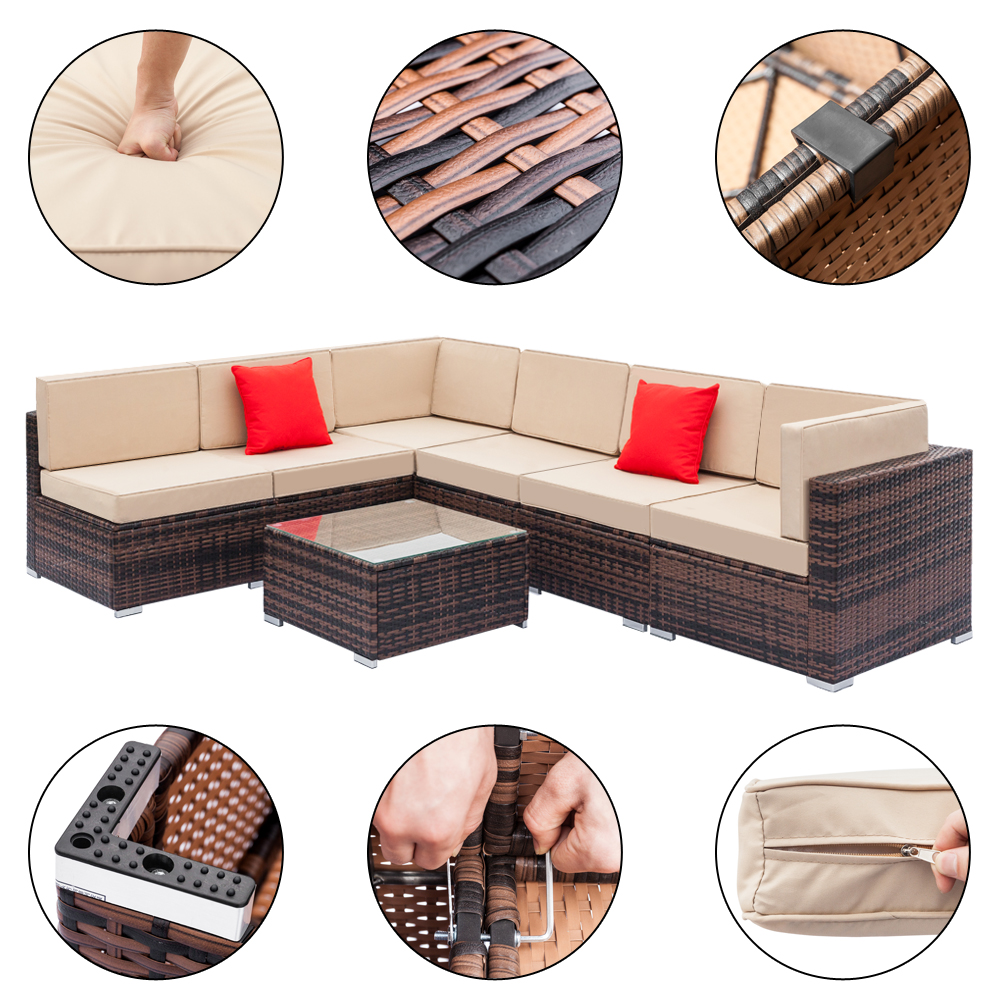 Fully Equipped Weaving Rattan Sofa Set With 2pcs Corner Sofas & 4pcs Single Sofas & 1 Pcs Coffee Table Black Embossed