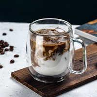 Taza de café de cerveza de doble cristal, bebida transparente de té