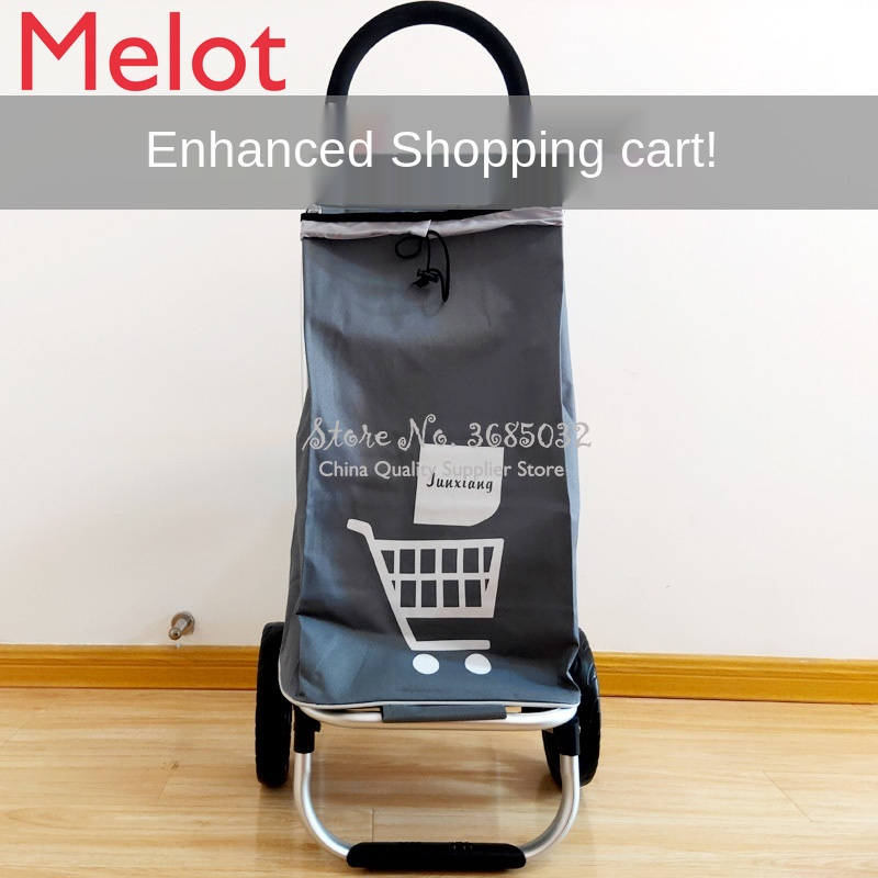 Ultra-light aluminum alloy trolley cart Portable Mute Wear-resistant folding luggage cart Mini shopping cart Upgraded version
