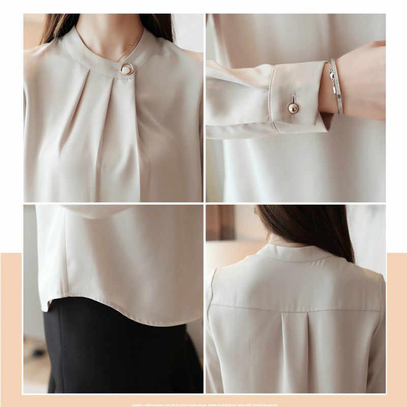 2020 primavera verão blusa camisas de manga longa das mulheres para lazer chiffon camisa arco escritório senhoras rosa branco topos