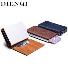 DIENQI Rfid Blocking Genuine Leather Credit Card Holder Wallet Men Mini Slim Anti Thief Business id Cardholder Case Aluminium