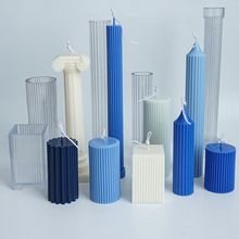 Various acrylic plastic candle molds Classical striped Roman column design shape candle silicone mold Candle making paraffin