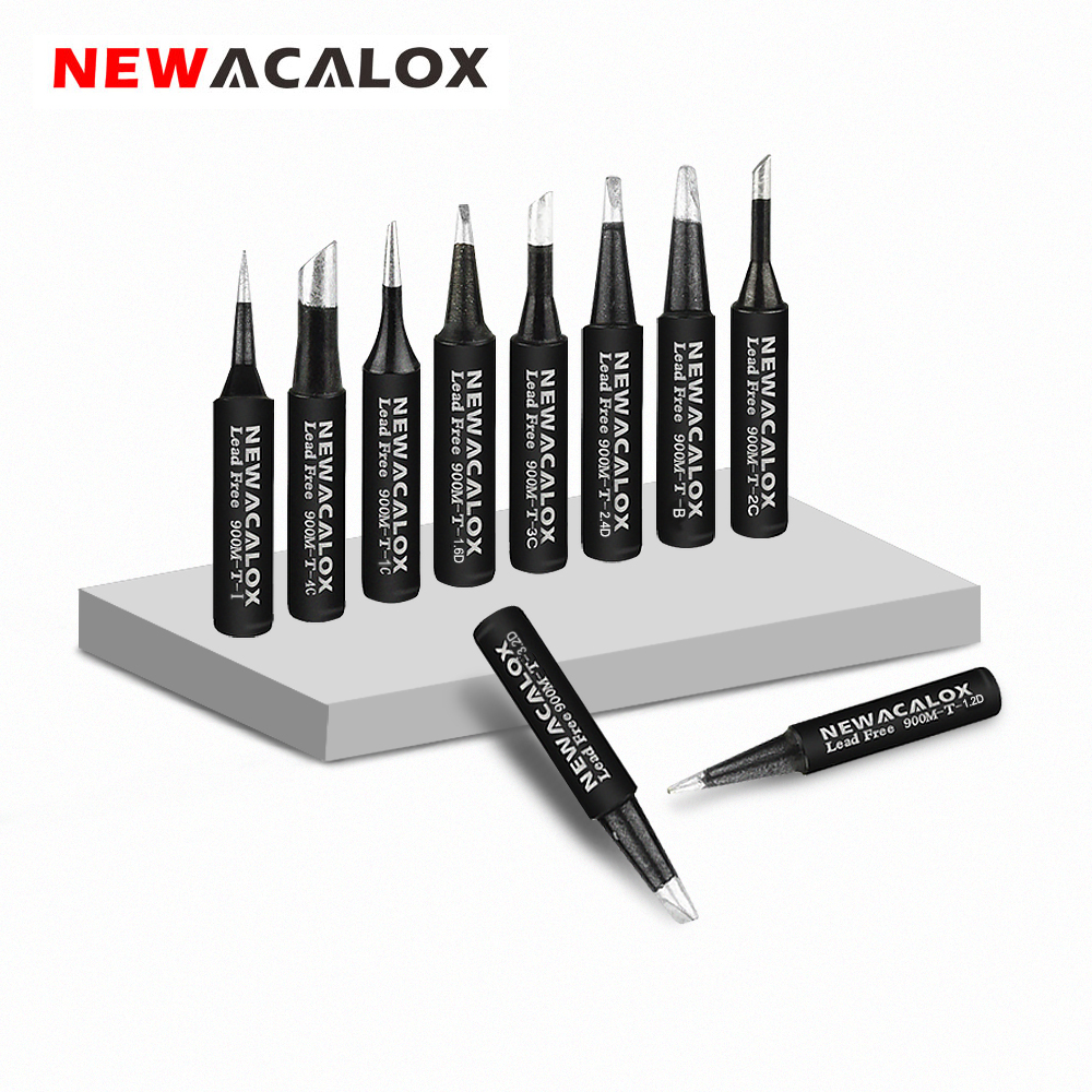 NEWACALOX 16pcs/lot 900M-T Lead Free Black Metal Soldering Iron Tips  For For 936, 937, 938,8586, 852D  Rework Soldering Station