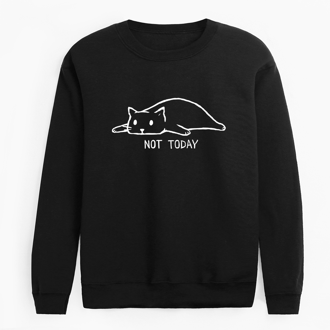2019 Hot Sale Fashion Not Today Print Men's HoodiesLong Sleeve Round Neck Pullover Hipster Funny Lazy Cat Printed Sweatshirt