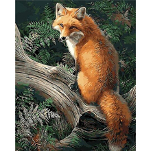 Painting By Numbers Canvas Animal Fox Oil Colouring Paints Home Decor 40x50cm Full Kits