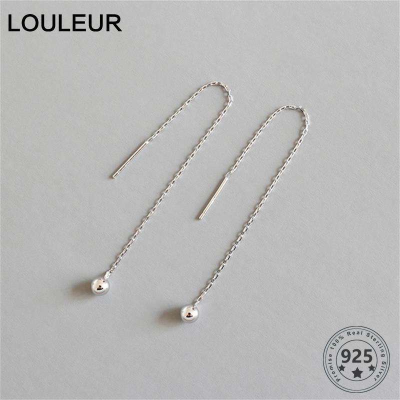 LouLeur 925 Sterling Silver Wire Earrings Minimalist Geometric Ball Chain Stud Earrings For Women Fashion Silver Jewelry Gifts