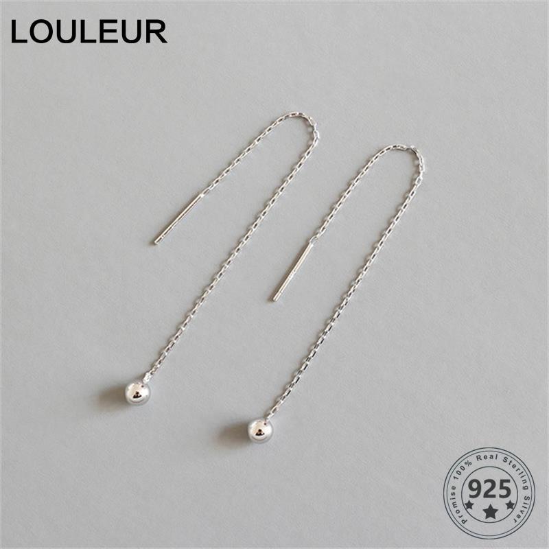 LouLeur 925 Sterling Silver Wire Earrings Minimalist Geometric Ball Chain Stud Earrings For Women Fashion Silver Jewelry Gifts
