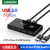 Ugreen USB KVM Switch USB 3.0 2.0 Switcher for Xiaomi Mi Box Keyboard Mouse Printer Monitor 2 PCs Sharing 4 Devices USB Switch