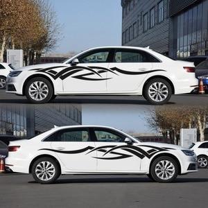 Image 2 - 2 adet vinil çıkartması araba vücut yan Wrap alev kabile grafik bel hattı Sticker yüksek kalite araba çıkartmaları yeni