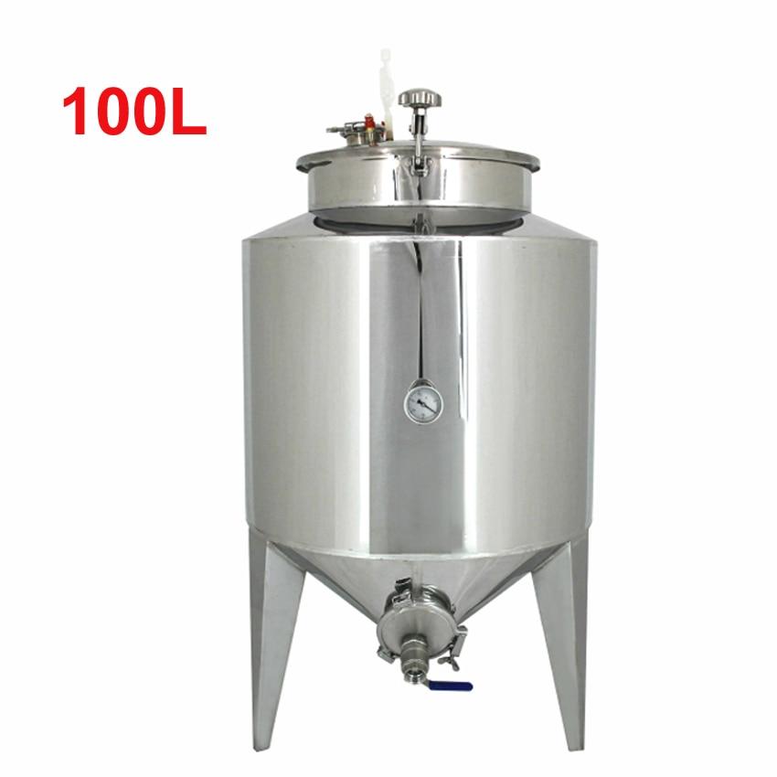 100L Stainless Steel Wine Fermentation Barrel Storage Barrel Fermenter Tank Household Beer Liquor Pressure Fermentation Vessel