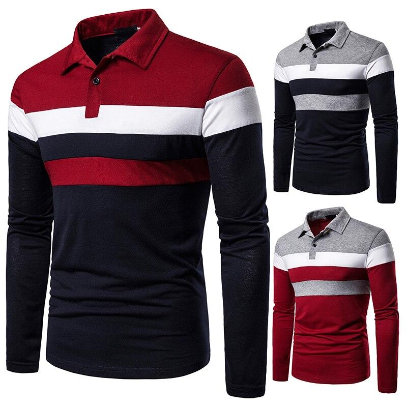 Sonbahar erkek uzun kollu T-shirt üç renk dikiş eşleşen sokak rahat moda t-shirt