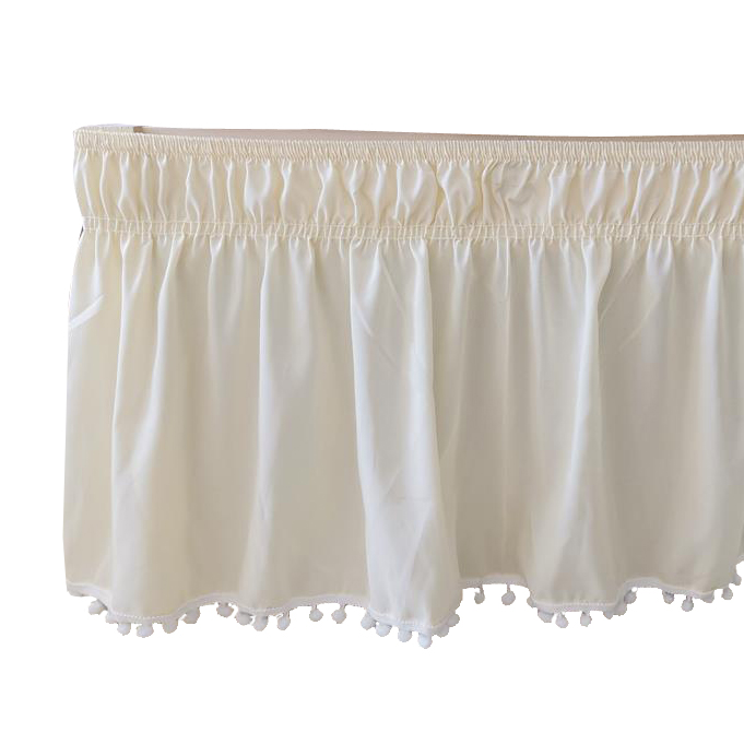 1PC Bed Skirt White Wrap Around Elastic Bed Shirts Without Bed Surface Bed Skirts Twin/Full/Queen/King Home Hotel Use #/