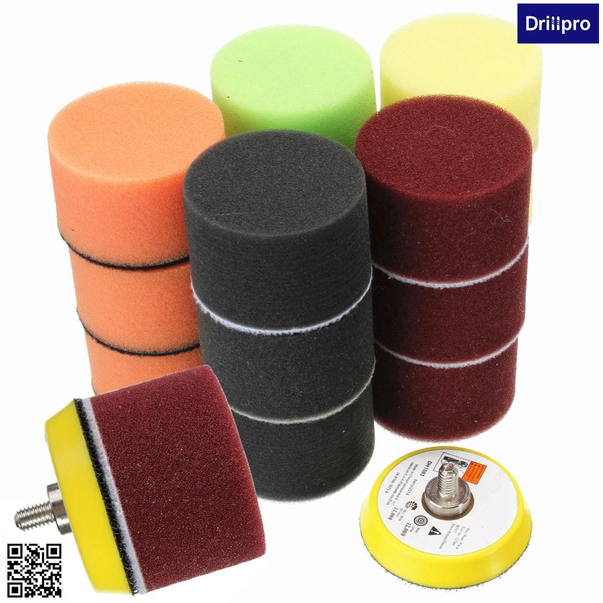 Drillpro 16pcs 2 Inch Sponge Flat Polishing Pad For Car Polisher