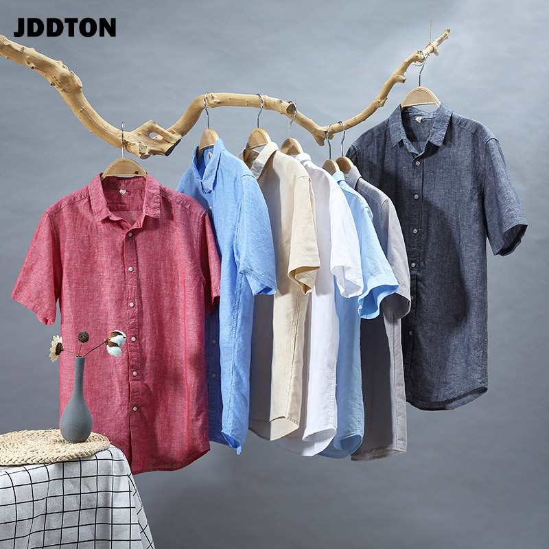 JDDTON New Mens Summer Cotton Linen Shirts Breathable Short Sleeve Casual Fashion Style Loose Solid Color Male Thin Shirts JE108