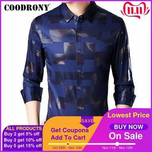 Image 1 - COODRONY marka koszula męska bawełniana koszula z długim rękawem mężczyźni jesień sukienka męskie koszule na co dzień Streetwear moda Camisa Masculina 96068