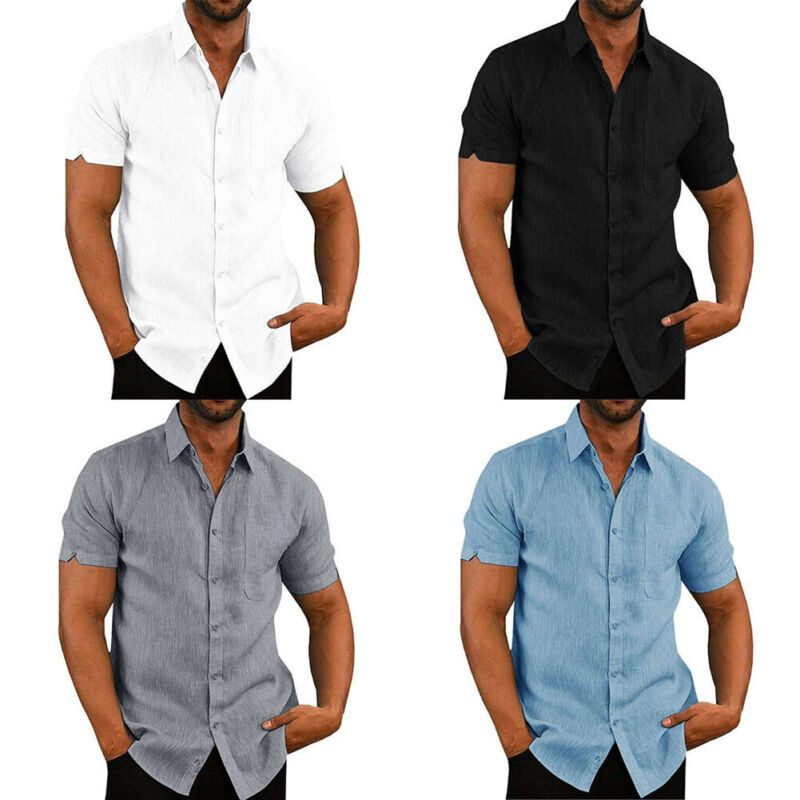 Mens Linen Blouse Short Sleeve Baggy Buttons Summer Solid Comfortable Pure Cotton And Linen Casual Loose Holiday Shirts Tee Tops 4
