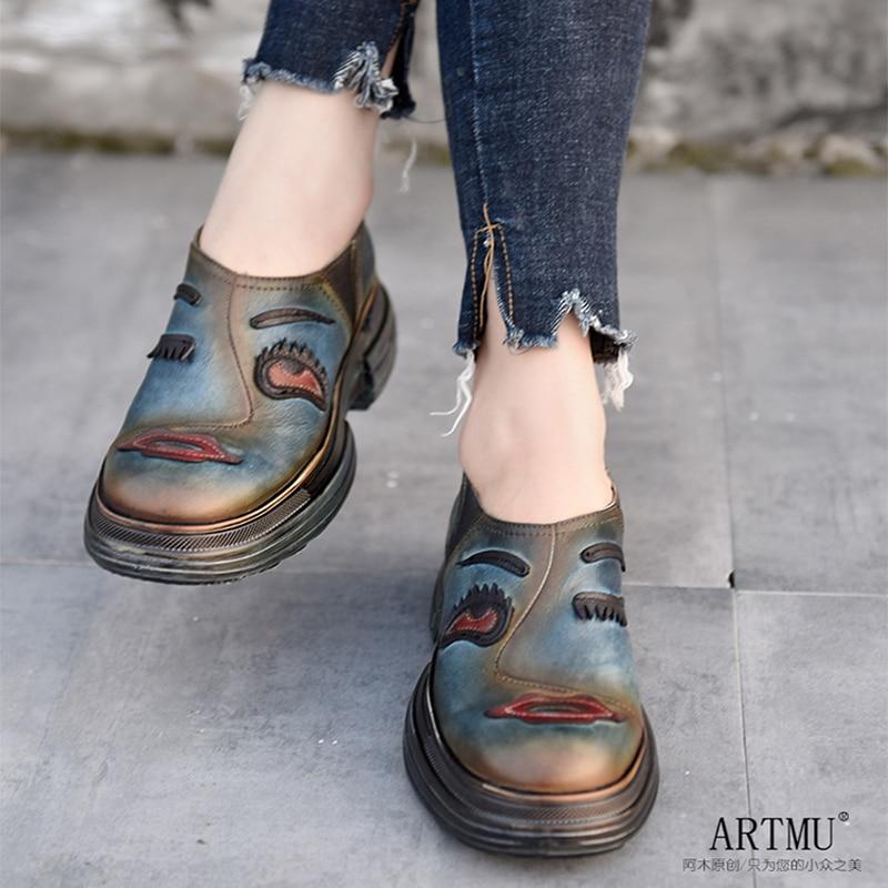 Artmu Original Thick Sole Wedge Heels Women Shoes Leisure Genuine Leather Deep Mouth Handmade Platform Casual Shoes Round Toe