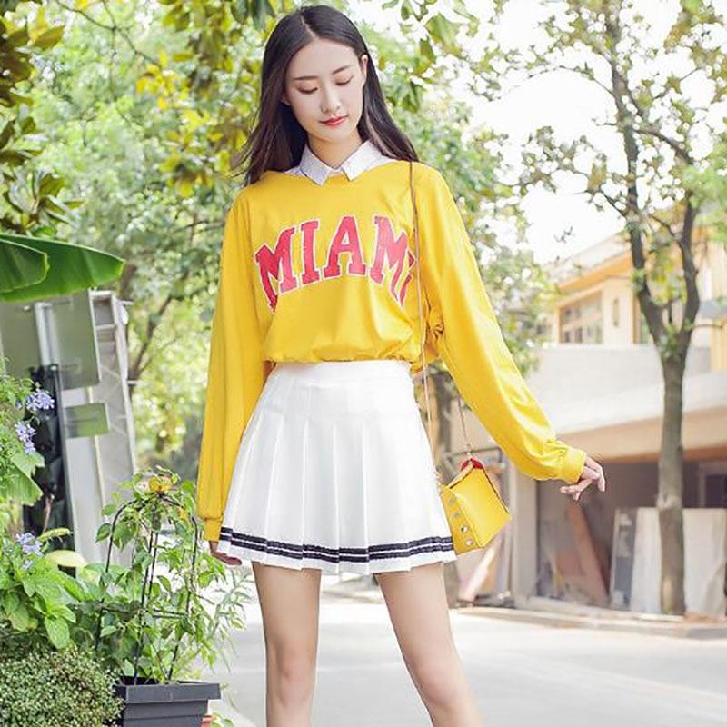 Preppy Style Girls Short Pleated Korean Slim Fit High Waist Empire Skirts Ladies Women Fashion Mini A-line Skirt
