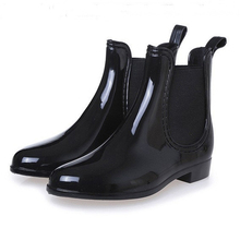 Whoholl Spring Winter Boots Brand Design Ankle Rain Elastic Band Shoes Woman Solid Rubber Waterproof Flats Cd609
