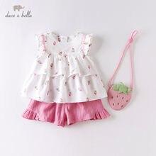 DBM14178 데이브 벨라 여름 아기 여자 패션 과일 인쇄 ruched 의류 세트 아이 귀여운 세트 어린이 작은 가방 3 pcs 양복