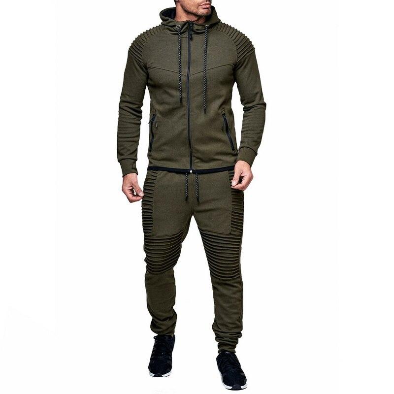 PUIMENTIUA 2 Pieces Sets Tracksuit Men New Brand Autumn Winter Zipper Hoodie +pants Men Striped Pants Solid Hoodies Sets