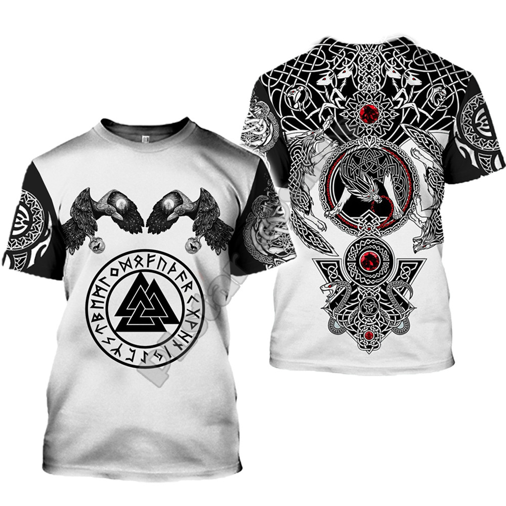 2020 latest Viking symbol printed T-shirt men's summer short-sleeved Harajuku T-shirt men's street hip-hop unisex T-shirt top 01 2