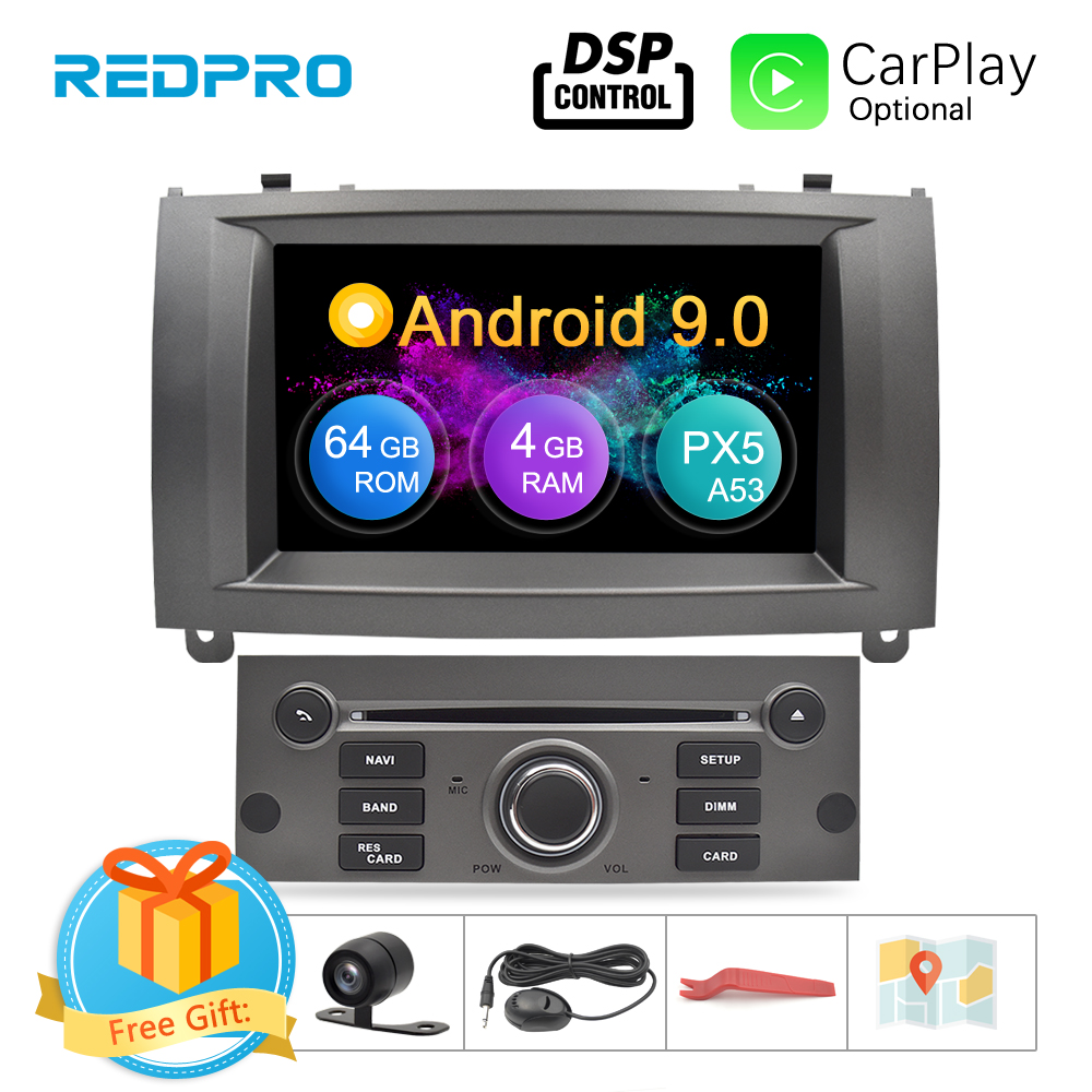 4GRAM Android 9 0 9 1 Car DVD Stereo Player For Peugeot 407 2004-2010 GPS Navigation WiFi Bluetooth Car Multimedia Video Audio