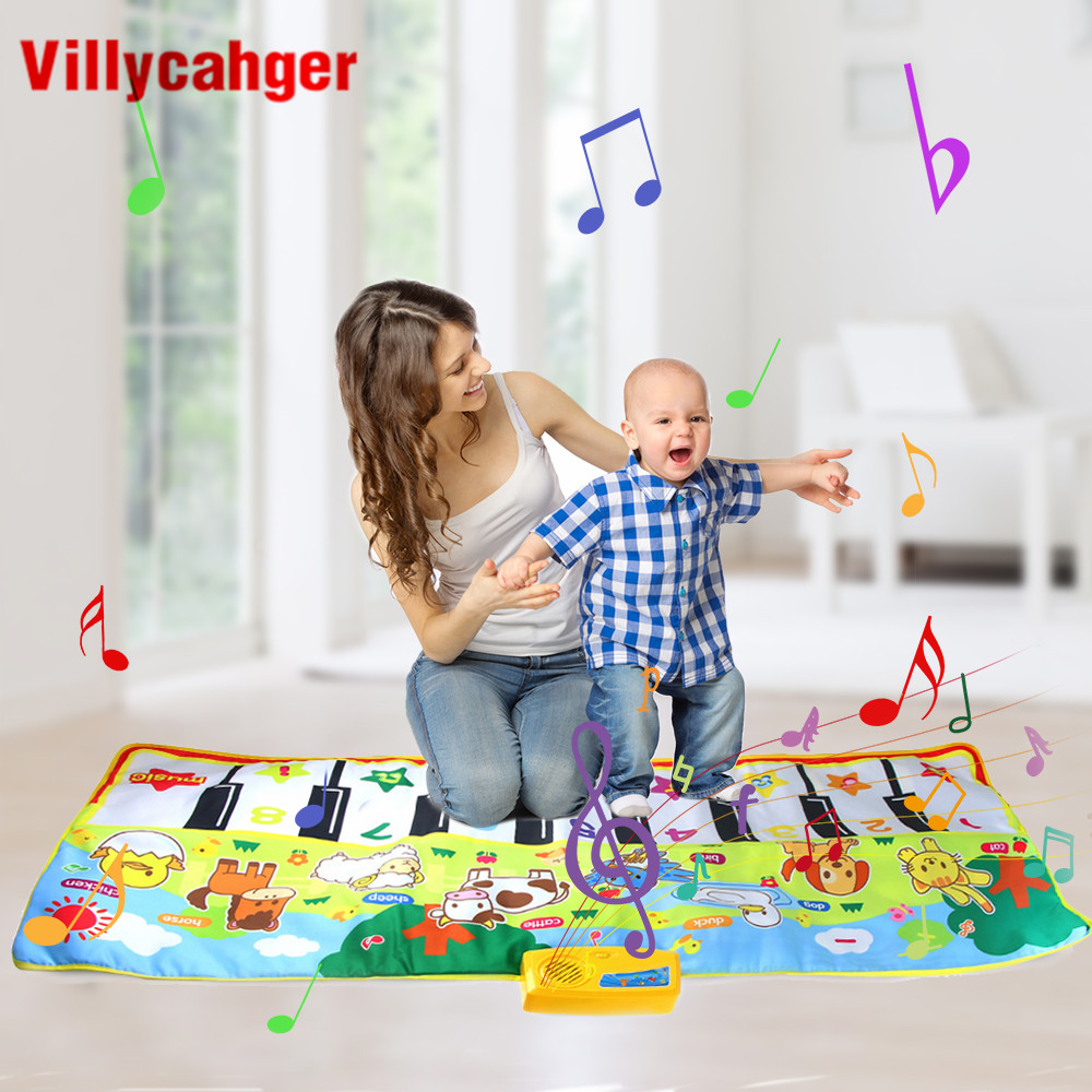 135x58cm Big Musical Mat Carpet Touch Play Piano With 8 Animals Sound Music Instrument Baby Play Mat Rug Educational Toys