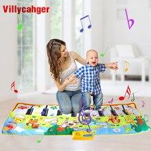 135x58cm grande tapete musical toque tocar piano com 8 animais som música instrumento bebê jogar tapete brinquedos educativos