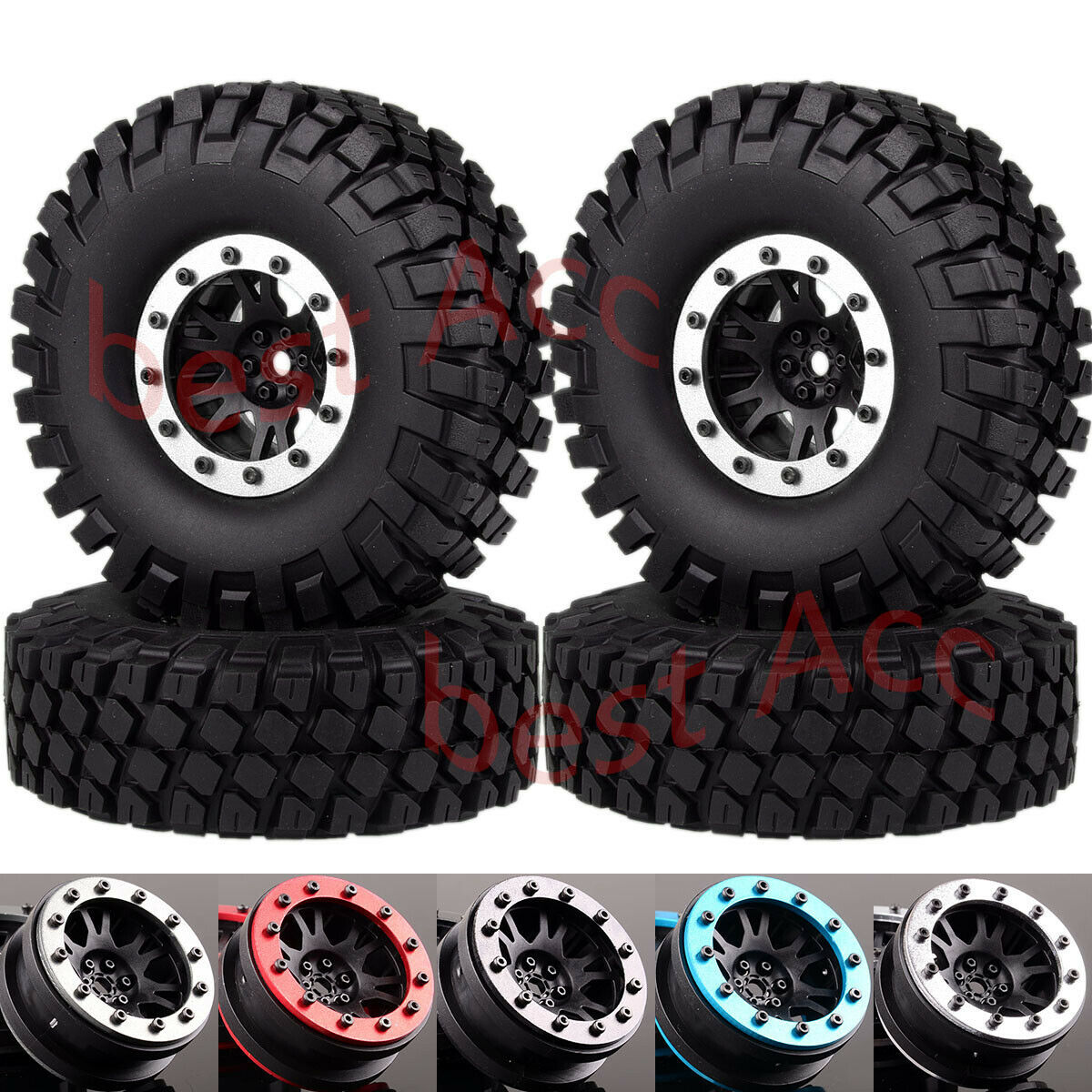 "1:10 112mm 4P 1.9"" Beadlock Wheel Rim Rocks Tires For RC Crawler SCX10 TRX4 CC01"