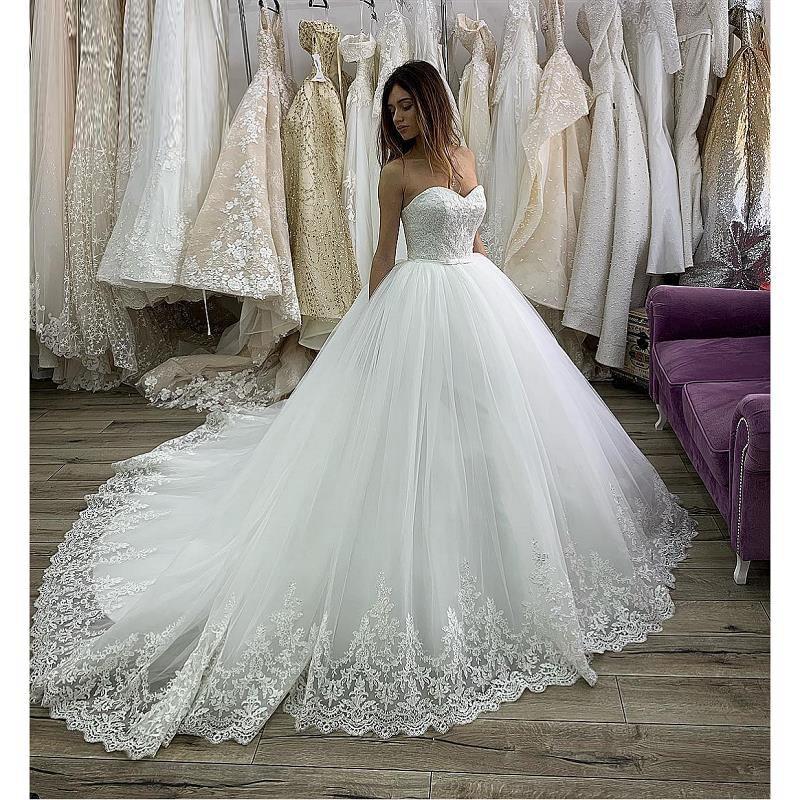 Princess Ball Gown Wedding Dresses  2020 Lace Appliques Sweetheart Corset Back Luxury Bride Dress Bridal Gowns Vestido De Noiva