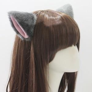 Hot Sale Solid Color Cute Imitation Animal Cat Fox Long Fur Ears Shape Hair Clip Halloween Party Headwear Wholesale