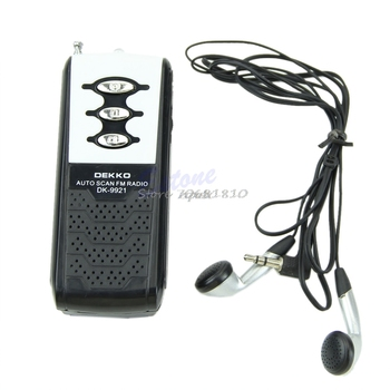 FM Mini de escaneo automático receptor de Radio portátil Clip de cinturón con linterna y auriculares Au08 19 Dropship