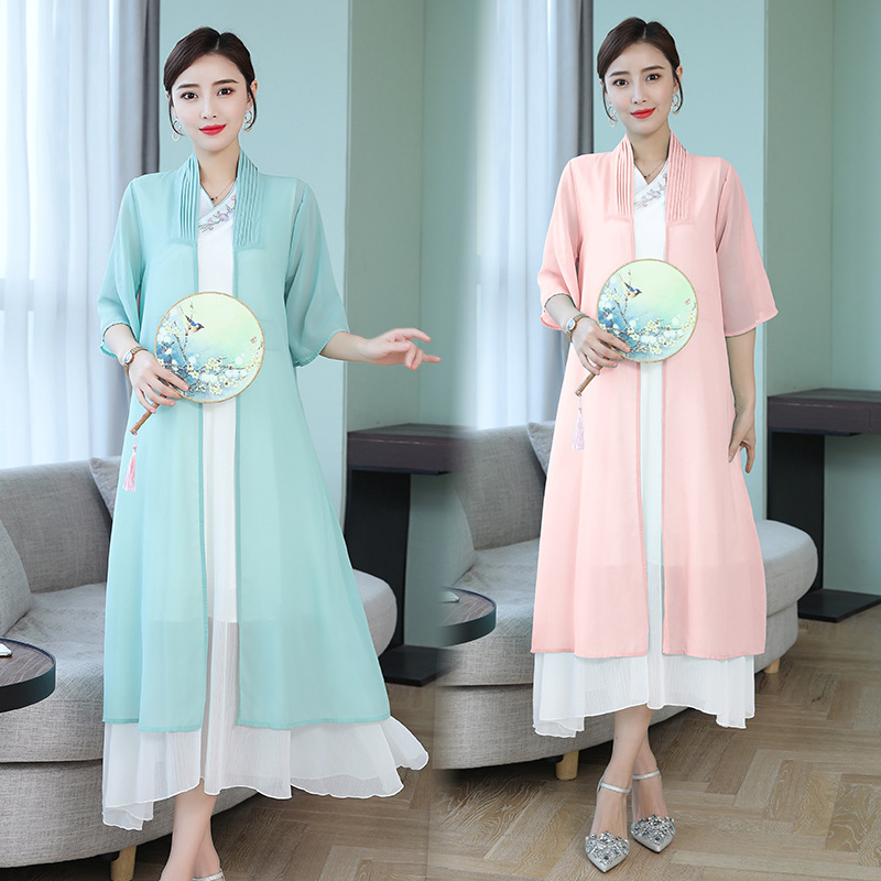 Improved Chinese Clothing Dress 2019 Summer New Style Retro Han Dynasty-Style Embroidery Set Han Dynasty Element Two-Piece Women